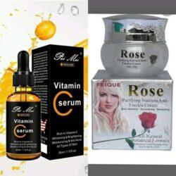 Crème visage + sérum à la vitamine C 7000f. Nettoie et purifie la peau, nourrit, antirides, revitalisant
